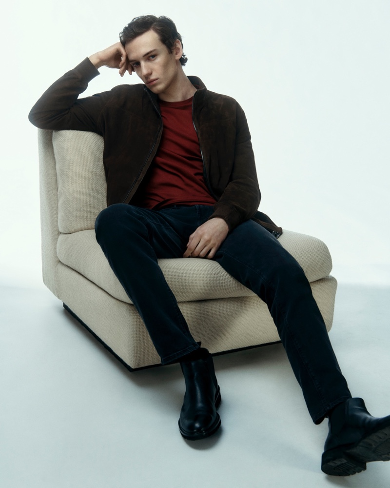 Model Jakob Zimny stars in a Valentine's Day themed editorial for Massimo Dutti.