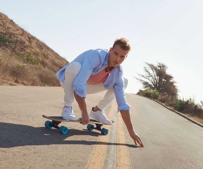 Skateboarding, Matthew Noszka appears in Tommy Hilfiger's spring-summer 2021 men's campaign.