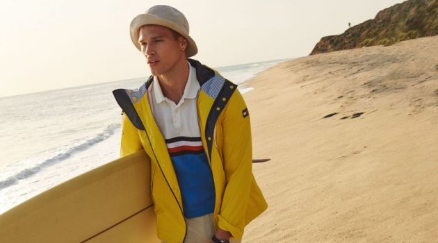 Taking to Malibu, California, Matthew Noszka fronts Tommy Hilfiger's spring-summer 2021 men's campaign.