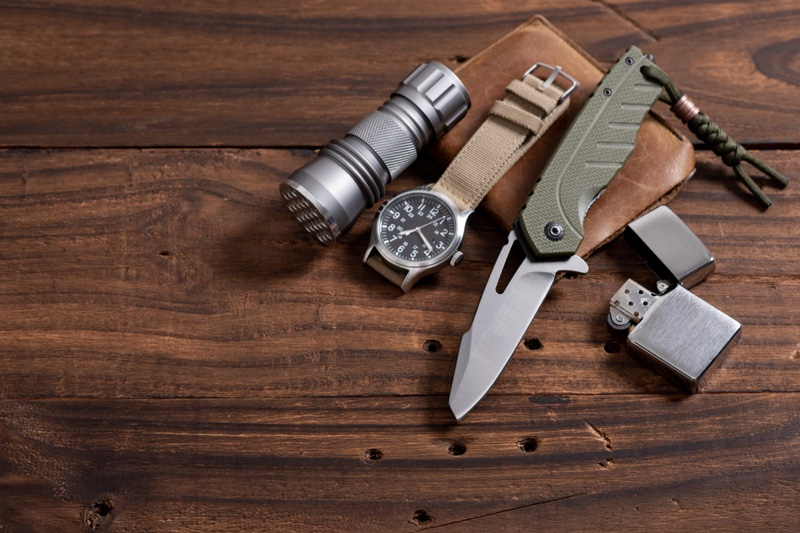 Table Pocket Knife Flashlight Watch Wood Lighter