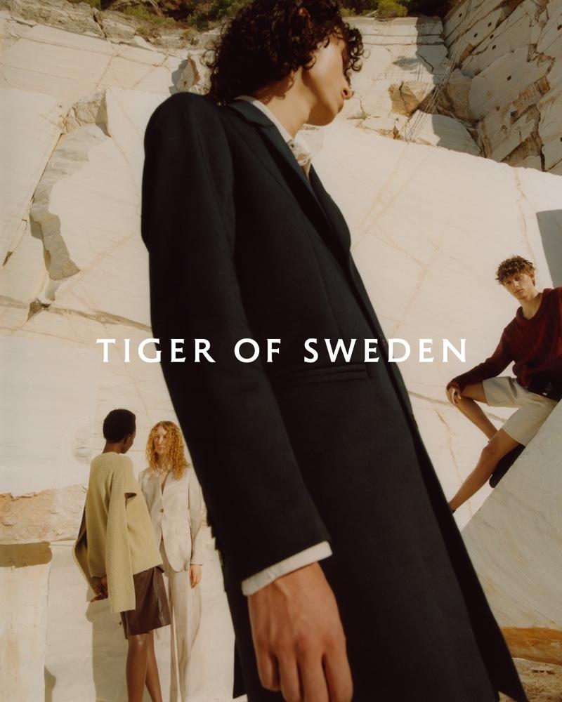 Yacine Diop, Lorna Foran, Adam de la Tour, and Serge Sergeev front Tiger of Sweden's spring-summer 2021 campaign.