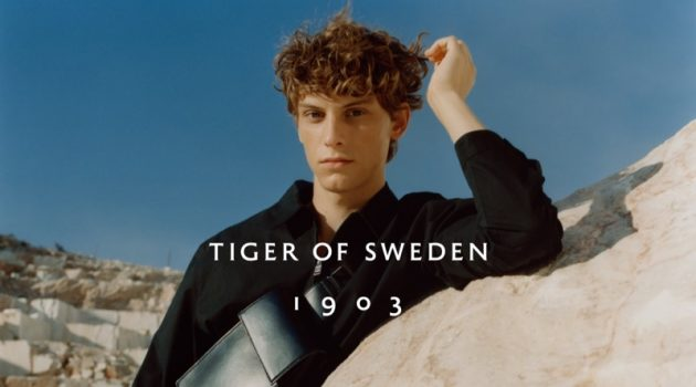 Serge Sergeev stars in Tiger of Sweden's spring-summer 2021 men's campaign.