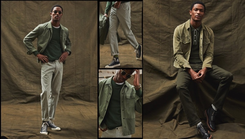 Left: Hamid Onifade models a green Todd Snyder Italian fatigue mixed media corp jacket with a premium cashmere pocket tee and Japanese railroad stripe carpenter pants. Right: Hamid wears an Italian suede snap Dylan jacket, Italian cotton silk tipped ribbed polo sweater and slim-fit 5-pocket chinos from Todd Snyder.