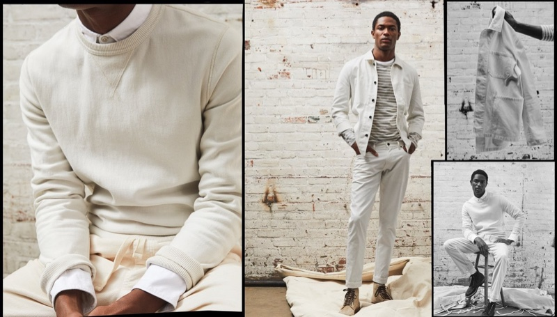 Modeling a neutral-toned outfit, Hamid Onifade wears a Todd Snyder garment dyed crew sweatshirt, Japanese selvedge oxford button-down shirt, and garment-dyed classic sweatpants. Pictured right, Hamid shows off a Todd Snyder Bedford corduroy chore coat with a long-sleeve Japanese nautical stripe tee and slim 5-pocket Bedford cord pants.