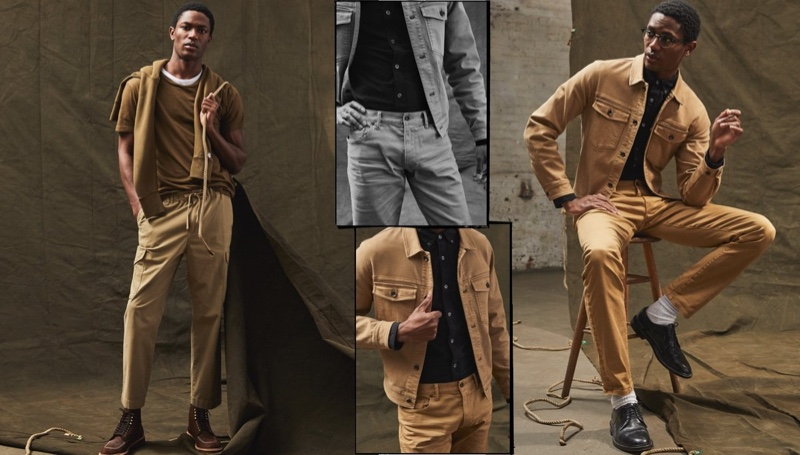 Front and center, Hamid Onifade makes a statement in Todd Snyder's new Italian drawstring infantry pants in desert khaki. Meanwhile, Hamid is photographed right in a Todd Snyder garment-dyed twill jacket, Japanese selvedge oxford button-down shirt, and slim-fit 5-pocket chinos.