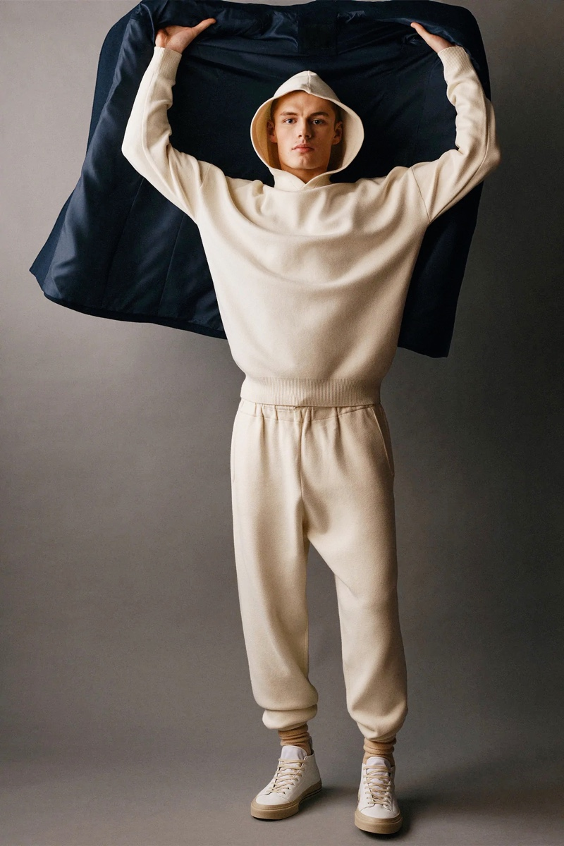 Hitting the studio, Finley Prentice wears a matching hooded pullover and joggers from Zara Man.