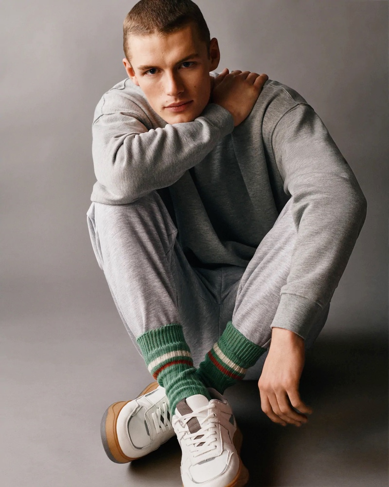 Front and center, Finley Prentice goes casual in the latest clothes from Zara Man.