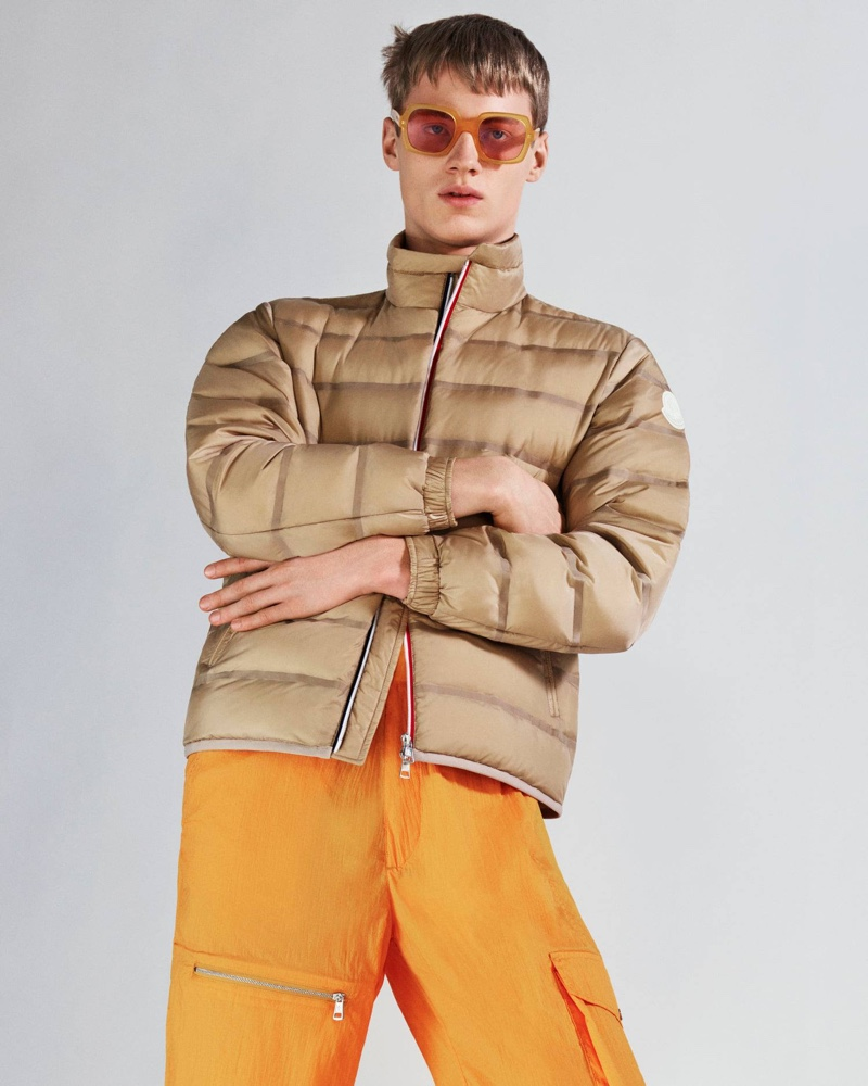 Sporting a quilted jacket, Braien Vaiksaar also wears 2 Moncler 1952 athletic trousers.