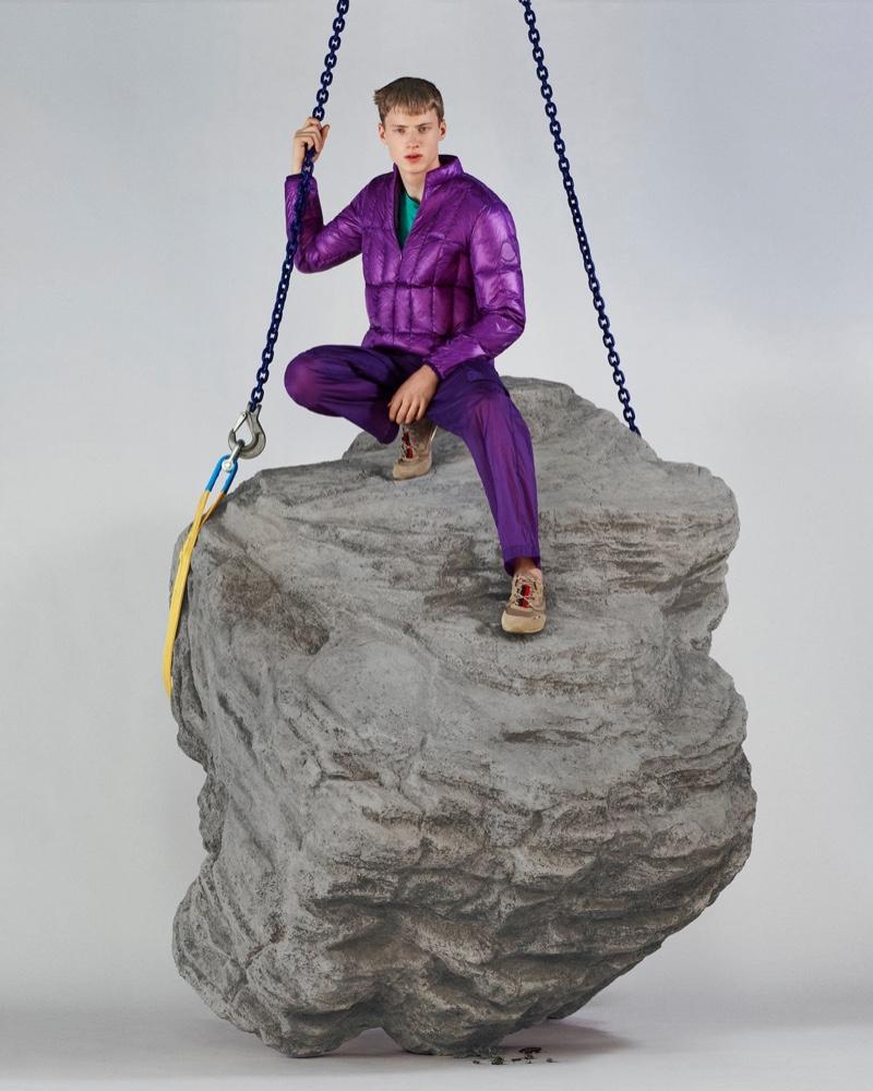 Embracing purple, Braien Vaiksaar dons a monochromatic look from 2 Moncler 1952.