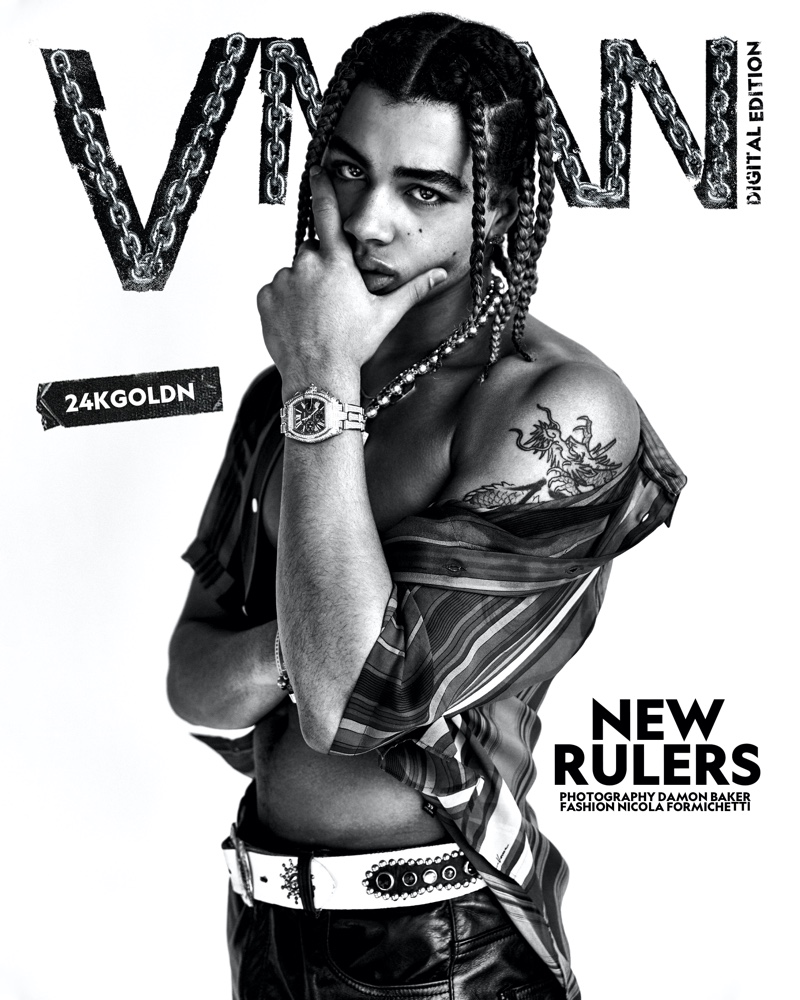 24kGoldn poses for a digital cover for VMAN.