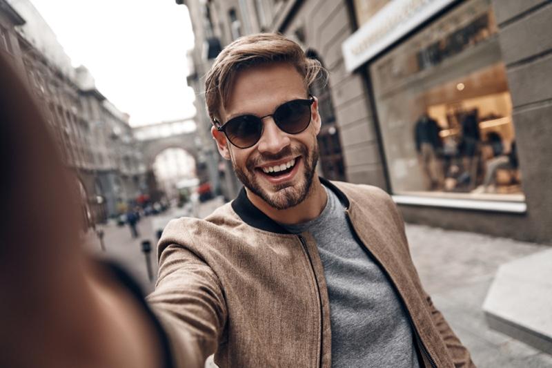 Attractive Man Selfie Sunglasses Smiling