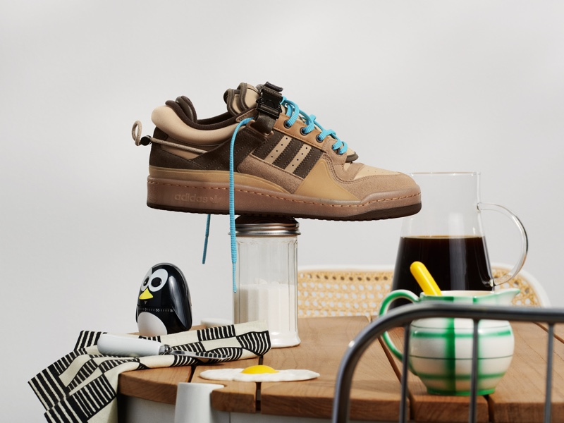 """Bad Bunny reinterprets Adidas Originals' iconic Forum Buckle Low sneaker with a coffee-inspired take called """"The First Café."""""""