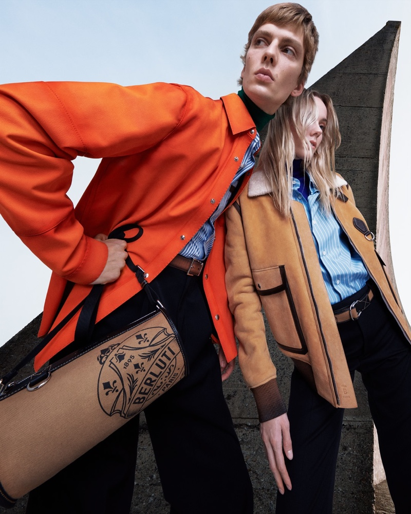 Leon Dame and Kiki Willems front Berluti's spring-summer 2021 campaign.