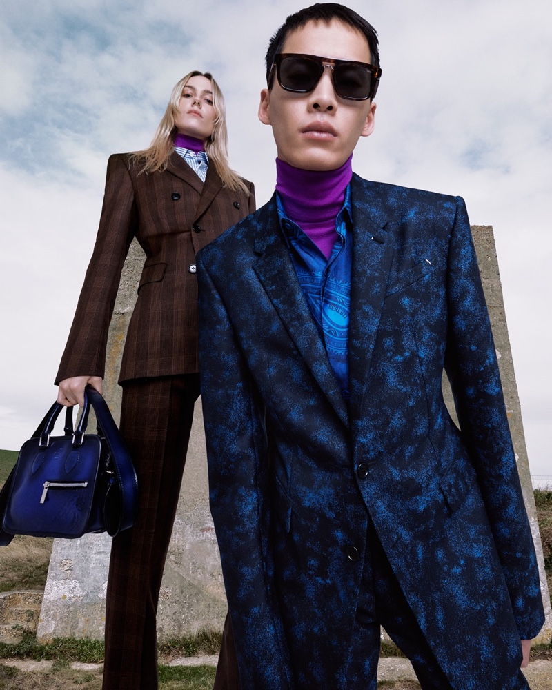 Kiki Willems and Wang Chenming appear in Berluti's spring-summer 2021 campaign.
