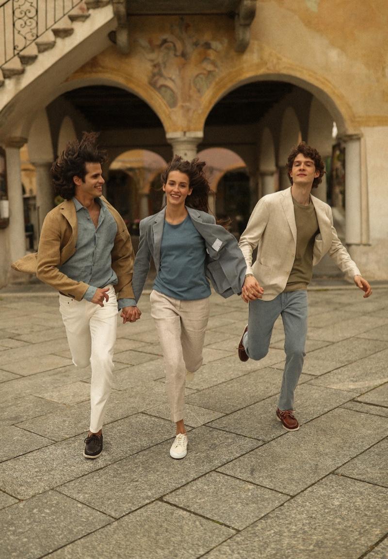 Models Luigi Cazzaniga, Davide Moncecchi, and Gaia Giovannetti appear in Boglioli's spring-summer 2021 campaign.