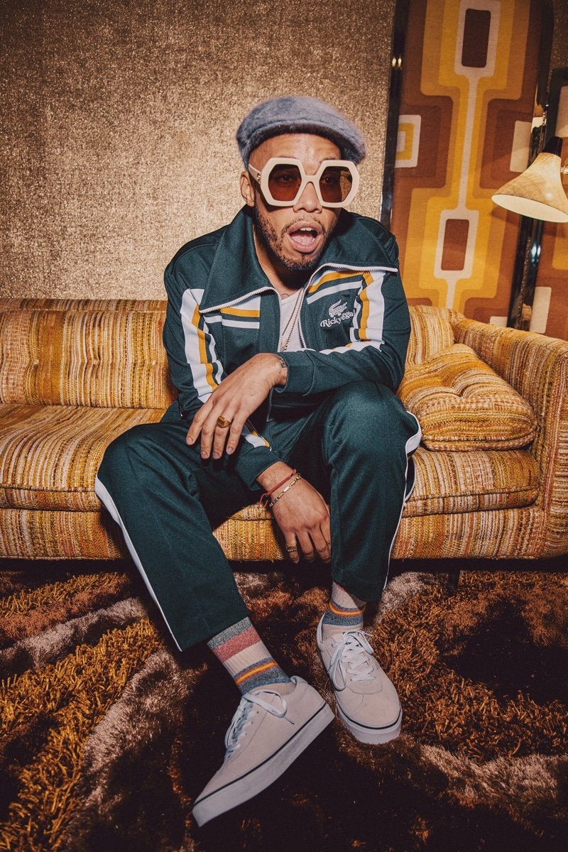 Music artist Anderson .Paak appears in the campaign for Bruno Mars' Lacoste Ricky Regal collection.