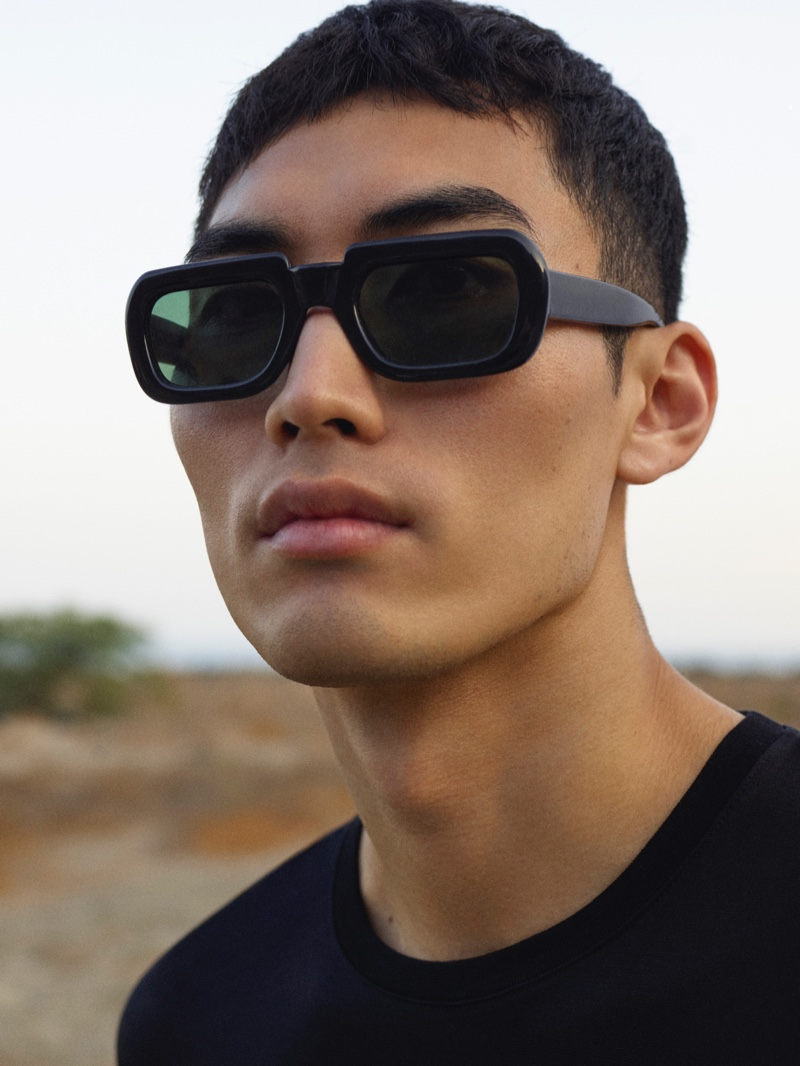 Model Do Byungwook rocks modern sunglasses for COS's spring-summer 2021 men's eyewear campaign.
