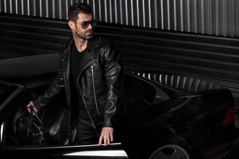 Cool Guy Leather Jacket Black Outfit Car