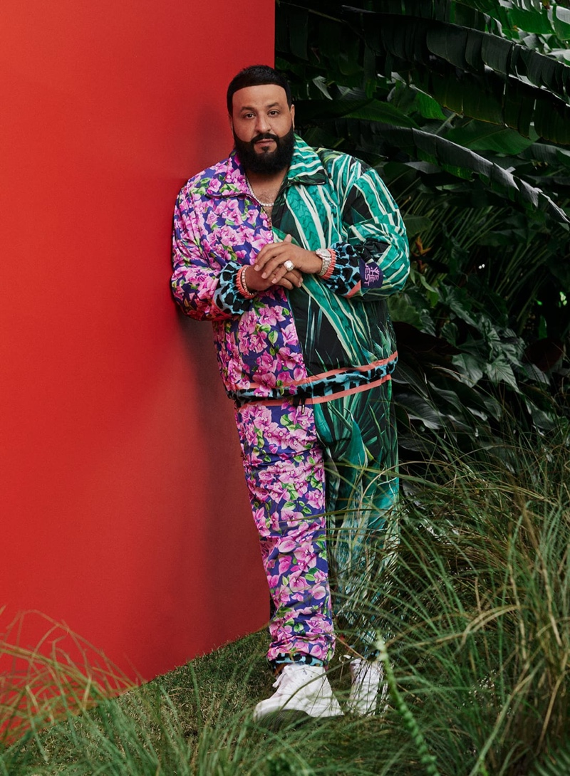 Front and center, DJ Khaled rocks a tracksuit from his Dolce & Gabbana collection.