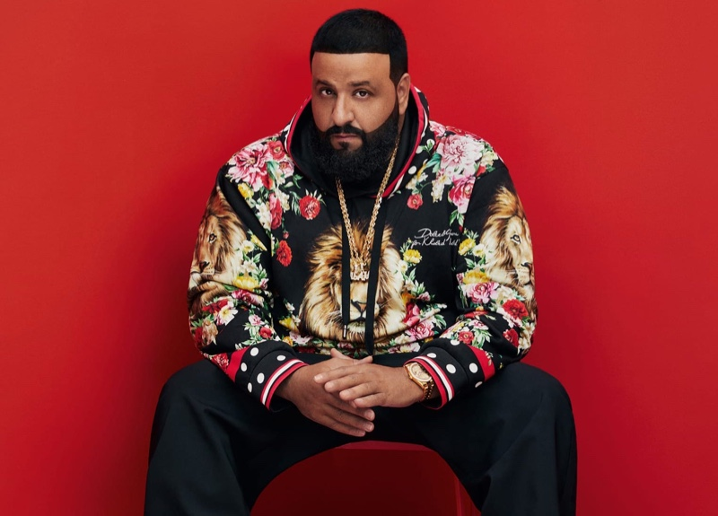 Sporting a hoodie, DJ Khaled shows off his new Dolce & Gabbana collaboration.