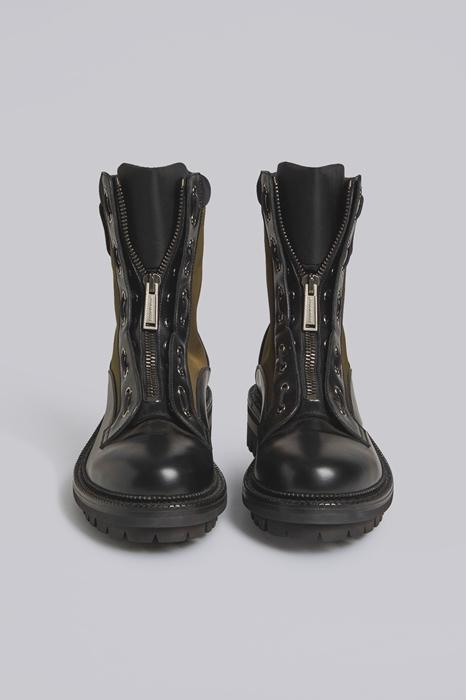 DSQUARED2 Men Boot Military green Size 12 50% Calfskin 50% Polyamide