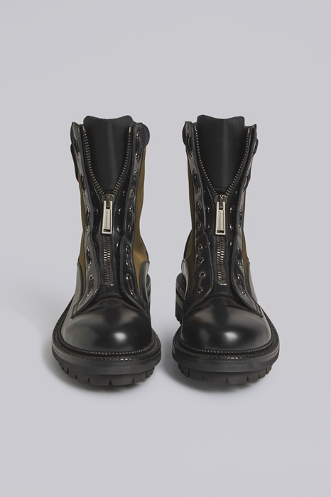 DSQUARED2 Men Boot Military green Size 9 50% Calfskin 50% Polyamide