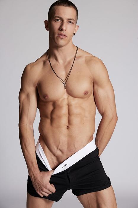 DSQUARED2 Men Boxer Black/White Size XL 95% Cotton 5% Elastane