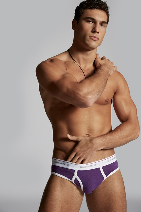DSQUARED2 Men Brief Purple Size L 95% Cotton 5% Elastane
