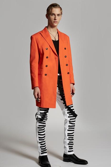 DSQUARED2 Men Coat Orange Size 38 100% Cotton