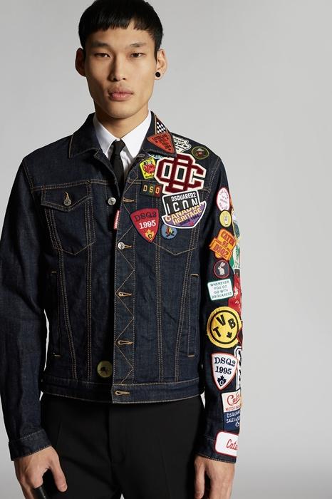 DSQUARED2 Men Denim outerwear Dark blue Size 46 99% Cotton 1% Elastane