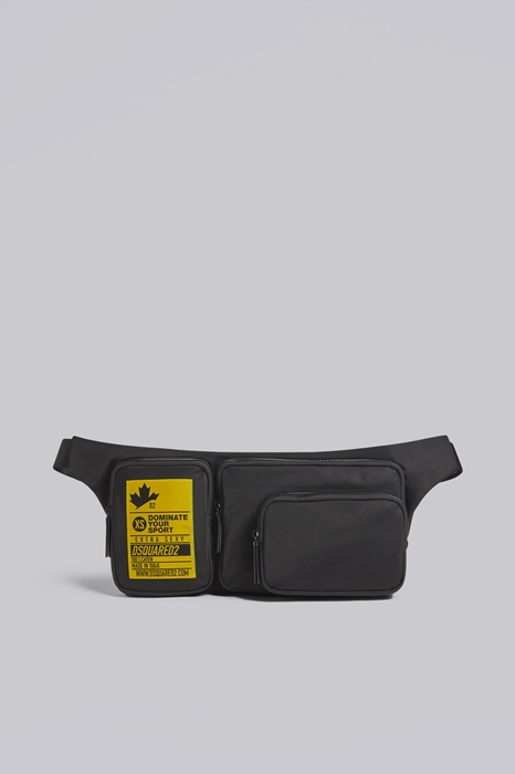 DSQUARED2 Men Fanny pack Black Size OneSize 95% Polyamide 5% Bovine leather