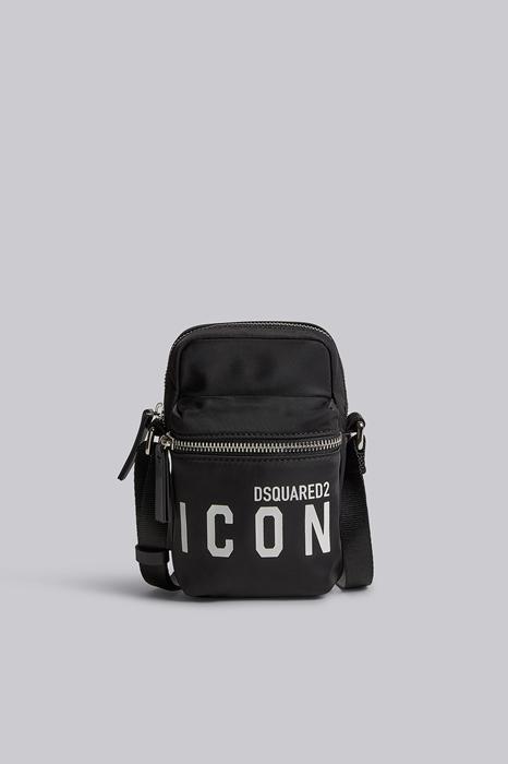 DSQUARED2 Men Hand bag Black/White Size OneSize 95% Polyamide 5% Bovine leather