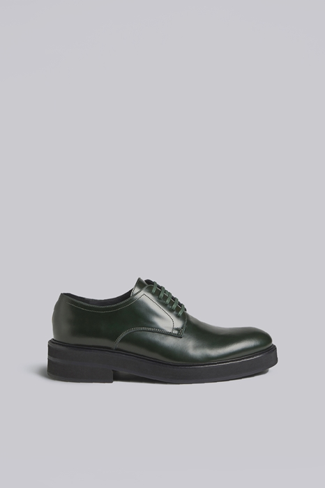 DSQUARED2 Men Lace-Up Green Size 12 100% Calfskin