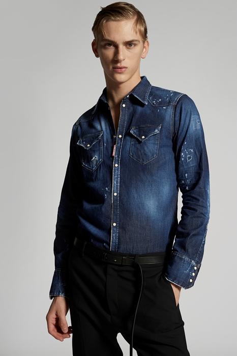 DSQUARED2 Men Shirt Blue Size 42 98% Cotton 2% Elastane