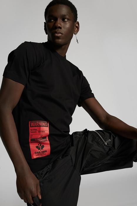 DSQUARED2 Men Short sleeve t-shirt Black Size M 100% Cotton