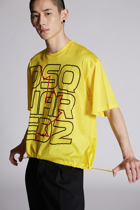 DSQUARED2 Men Short sleeve t-shirt Yellow Size L 100% Cotton