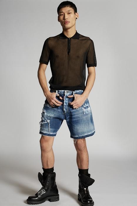 DSQUARED2 Men Shorts Blue Size 38 100% Cotton
