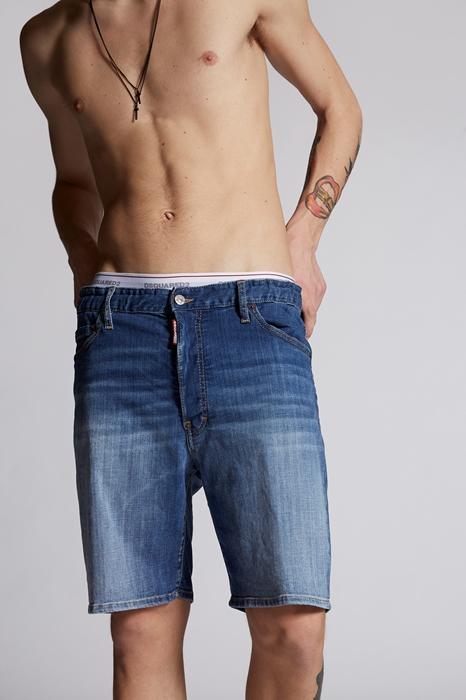DSQUARED2 Men Shorts Blue Size 38 98% Cotton 2% Elastane Bovine leather