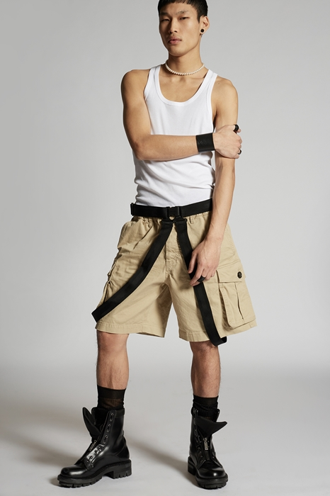 DSQUARED2 Men Shorts Sand Size 34 97% Cotton 3% Elastane