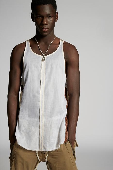 DSQUARED2 Men Sleeveless t-shirt Ivory Size 42 100% Cotton