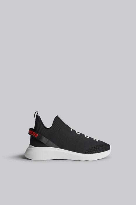 DSQUARED2 Men Sneaker Black Size 10 69% Polyester 14% Polyacrylic 10% Calfskin 5% Elastane 2% Nylon