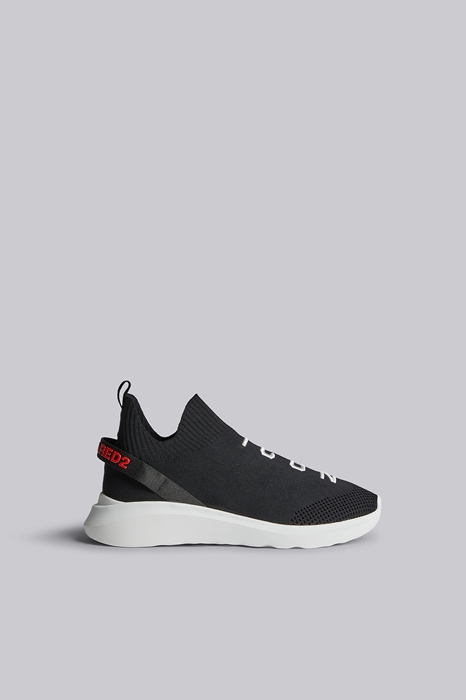 DSQUARED2 Men Sneaker Black Size 11 69% Polyester 14% Polyacrylic 10% Calfskin 5% Elastane 2% Nylon