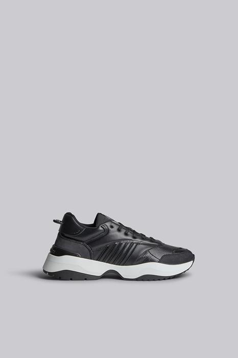 DSQUARED2 Men Sneaker Black Size 12 84% Calfskin 10% Polyurethane 2% Viscose 2% Polyester 2% Cotton