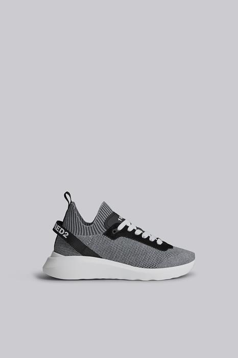 DSQUARED2 Men Sneaker Grey Size 9 70% Polyester 15% Polyamide 8% Calfskin 5% Elastane 2% Nylon