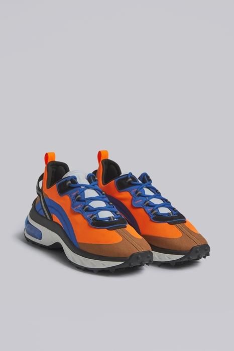 DSQUARED2 Men Sneaker Orange Size 9 60% Polyester 20% Polyamide 8% Calfskin 7% Thermoplastic polyurethane 5% Polypropylene