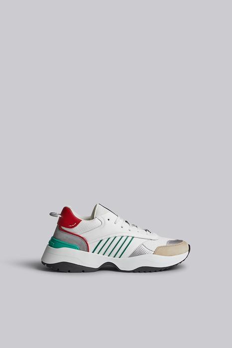 DSQUARED2 Men Sneaker White Size 13 84% Calfskin 10% Polyurethane 2% Viscose 2% Polyester 2% Cotton
