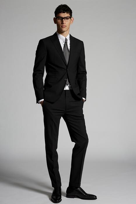DSQUARED2 Men Suit Black Size 34 95% Virgin Wool 5% Elastane