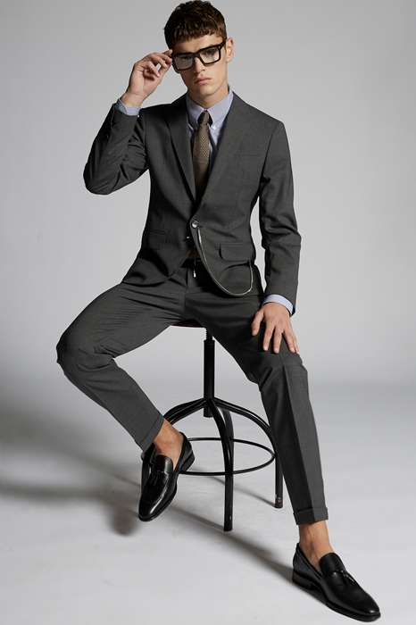 DSQUARED2 Men Suit Grey Size 40 95% Virgin Wool 5% Elastane