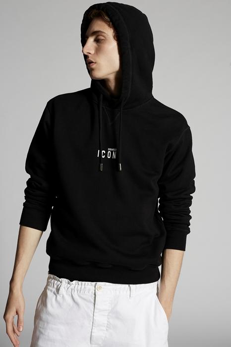 DSQUARED2 Men Sweatshirt Black/White Size XXL 100% Cotton