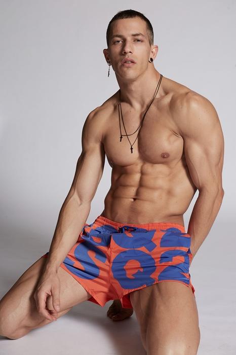 DSQUARED2 Men Swimming trunks Orange Size 36 92% Polyamide 8% Elastane